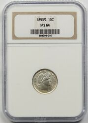 1893/2 10c Ngc Ms 64 Overdate Barber Dime