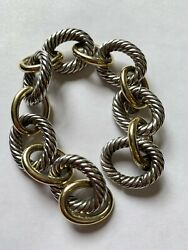 David Yurman Xl Oval Link Bracelet. Sterling Silver And 18k Gold. 8 Inches Large