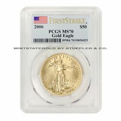 2006 50 Eagle Pcgs Ms70 First Strikes American Gold Bullion Coin 1 Ounce 22kt