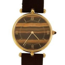 And Vintage Tiger's Eye 18k Gold Hand Wind Men's Watch