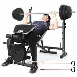 Weight Bench With Adjustable Barbell Rack, Multifunctional Fitness Black