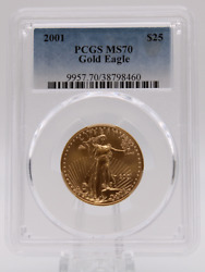 2001 25 Pcgs Ms70 Gold American Eagle 1/2 Ounce Low Pop