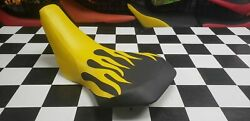 Yamaha Yt 125 Trimoto Seat Cover For Year 1980 To 1984 Seat Cover Yellow Flame