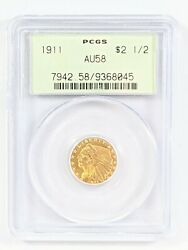 1911 Indian Head 2.50 Pcgs Certified Au58 Gold Coin Vintage Green Holder