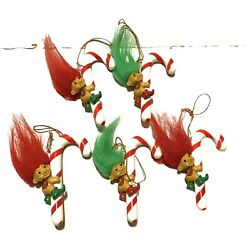 Vintage Russ Christmas Ornament 3 Troll Candy Cane Red And Green Hair Lot Of 5