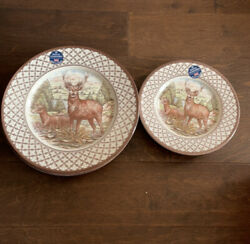 Royal Stafford England Stag Deer Thanksgiving 8 Dinner Plates 8 Appetizer Plates