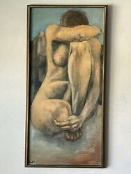 Vintage Modernist Cubist Nude Oil Painting -signed- Modern Abstract Cubism 1950s