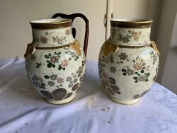 Rare Pair Of Haviland Limoges Vases Aesthetic Asian Water Lily Signed