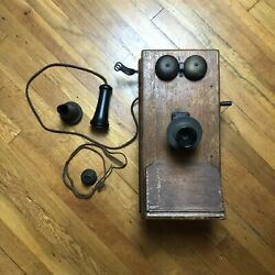 Antique American Electric Wooden Wall Telephone Swedish American