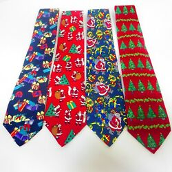 Mens Holiday Christmas Tie Lot Lands End Santa Candy Tree Gift Snow Ornament