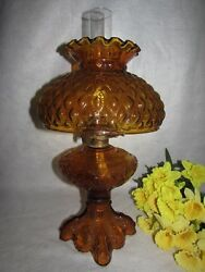 Amber Oil/kerosene Princess Feather Pattern Lamp W Quilted Gwtw Hurricane Shade
