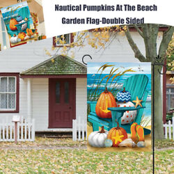 Fall Nautical Pumpkins At The Beach Autumn Leaves Garden Yards Flag 12.5quot;x18quot;