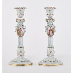 Antique 20th French Pair Of Porcelain Candlesticks Louis Xvi Style