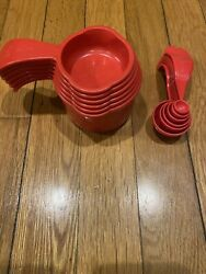 Vintage Red Tupperware Measuring Cups And Spoons Sets