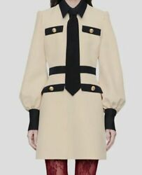 3500 Womenand039s Beige Long Sleeve Point Collar Shirt Dress Size It 46/ Us 10