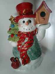 Christopher Radko Snowman Cookie Jar Container Bird House Chirpy And Chilly
