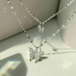 2021 Fashion Double Layer Butterfly Pendant Silver Chain Necklace Womens Jewelry