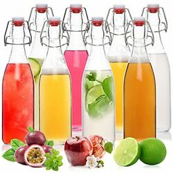 8 Pack-16oz Swing Top Glass Bottles With Airtight Stopper, Clear Flip Top 2nd Fe