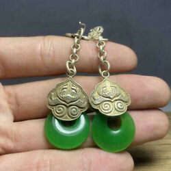 Antique Chinese Qing Dynasty Retro Jewelry Collection Old Jade Earrings