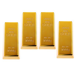 4x Fake Plastic Fine Gold Bar Paper Weight Prop Table Decor 6'' Bullion Toy
