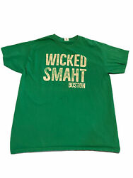 Boston Shirt Mens Large Wicked Smaht New England Accent Green Adult Short Sleeve