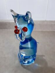 BLUE GLASS CAT FIGURINE WITH RED GLASS EYES AND NOSE