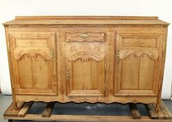 Antique French Farmhouse Provincial Sideboard Buffet Bleached Oak Server 1800's