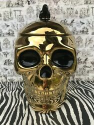 Gold Ceramic Skull With Black Crow Cookie Or Candy Jar With Lid Halloween Decor