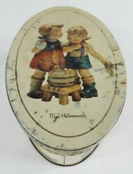 Vintage M.i. Hummel Off White Cream Round Oval Tin Box With Lid 1993 Aged Patina