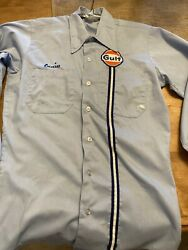 Vintage Gulf Gas And Oil Service Station Attendant Shirt 14-141/2 Short Long Sleev
