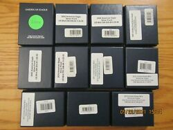 Complete Run 2004 - 2021 Proof American Silver Eagle Eagles Collection 22 Coins