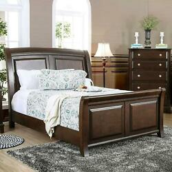 Mid Century Queen Sleigh Bed Solid Cherry Wood Modern Traditional Furniture New
