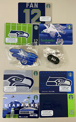 New -lot Of All 7 Starbucks 2021 Seattle Seahawks Gift Cards New Plus 2021 Pins