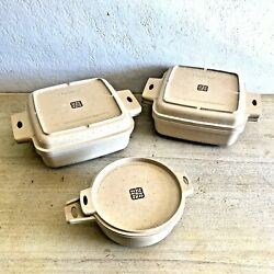 Vintage Littonware Microwave Conventional Convection Cookware W/ Lids - Set Of 3