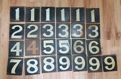 Vintage 1920and039s Moore And Kling Gas Station Pump Price Numbers Signs - Lot Of 25