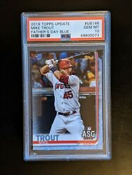 2019 Topps Update Mike Trout Fatherand039s Day Blue Psa 10 /50