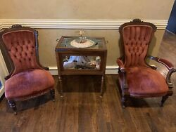Vintage Antique Victorian Tufted Red Ruby Chairs P Wheels Carved Free Delivery