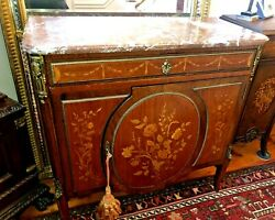 Antique Louis Xvi Marquetry Inlaid Commode Dresser W/ormolu And Rouge Marble Top