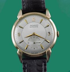 Vintage 1940and039s Movado Large 14k Gold Fancy Case Bumper Automatic Menand039s Watch
