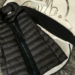 Moncler Down Jacket Maglione Tricot Cardigan Size Xs Color Dark Gray Nylon Used