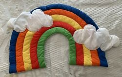 Vintage 80s Puffy Rainbow Soft Sculpture Children#x27;s Nursery Wall Hanging Quilted