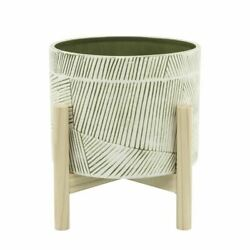 Upscale And Modern 8 Ceramic Planter W/ Wood Stand, Green Mix