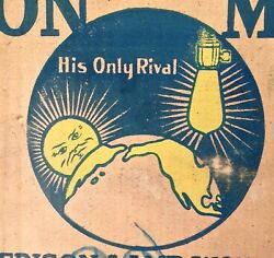 Vintage Early 1900's Edison Mazda Light Bulb Box Advertising Sign Look And Read