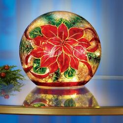 Large Poinsettia Lighted Crackled Glass Ball