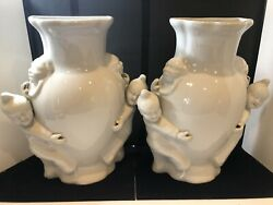 Pair of Vintage Wall Pocket Vases Classic Chinoiserie Porcelain JC
