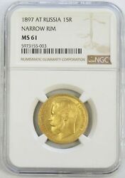 1897 At Gold Russia 15 Roubles Nicholas Ii Coinage Ngc Mint State 61 Narrow Rim