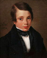 Louis Prot French Oil Painting Portrait Child Young Boy Restauration David