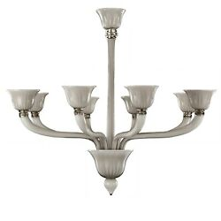 Chandelier Murano Glass 8xe14 Grey Incamiciato. Authentic With Certificate