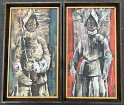 Set Vintage 60s Conquistador Knight Medieval Paintings Modern Art Wall Hangings