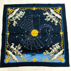 Hermes Scarf Stole Cosmos Air France Philippe Ledoux Navy Silk Limited New 90 Cm